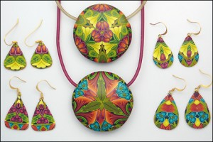 polymer clay kaleidoscope cane pendant and earrings by carol simmons