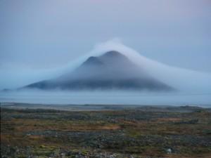 Mountain in fog.