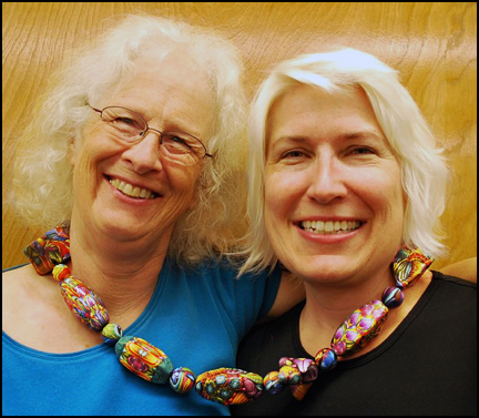 Carol Simmons and Rebecca Watkins with our collaborative necklace
